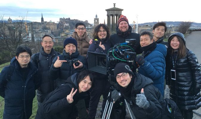 A group photo with some of the Japanese crew from Panasonic at Carlton Hill in Edinburgh.
