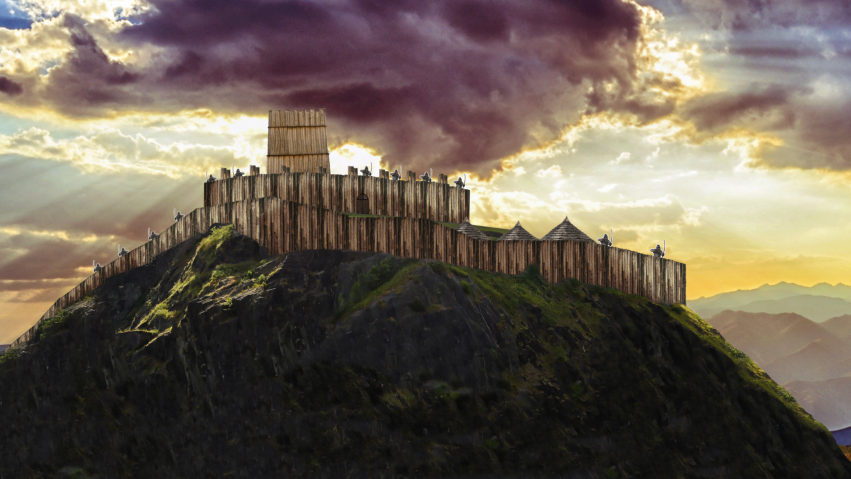 An animation shows a wooden castle upon a rocky hill. Archers stand poised to fire.