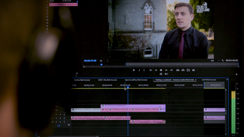 An editor looks at a screen showing a video sequence they are working on.