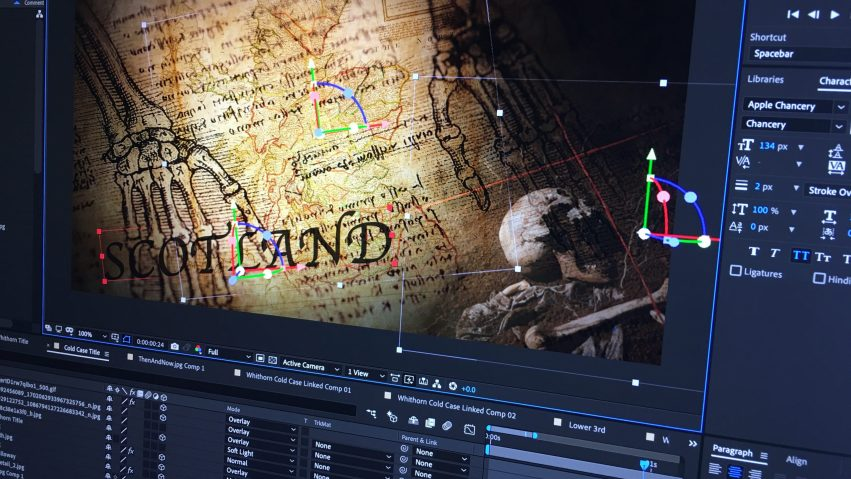 A title sequence can be seen in a motion graphics application.