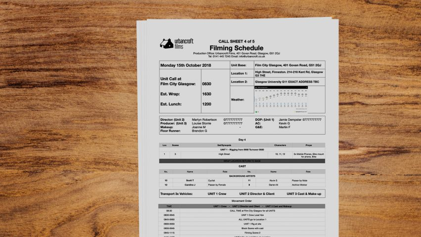 Looking down on a desk we see a call sheet for an example Urbancroft Films film production.